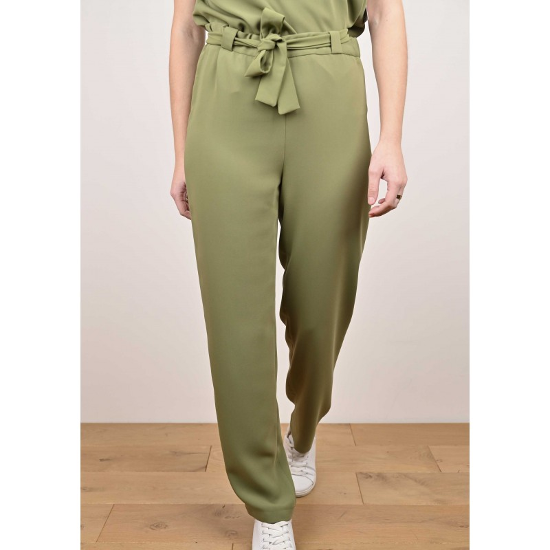 Emma Fluid Pants with Khaki Belt