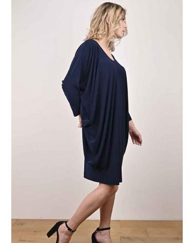 Robe Calie Drapée Unie Bleu Marine