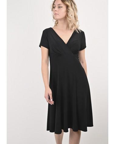 Robe Penny Col V Dos en Jersey Noir