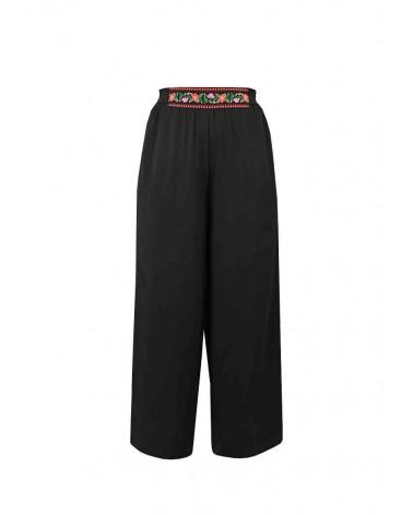Pantalon Camélia Bohème en Crêpe Noir