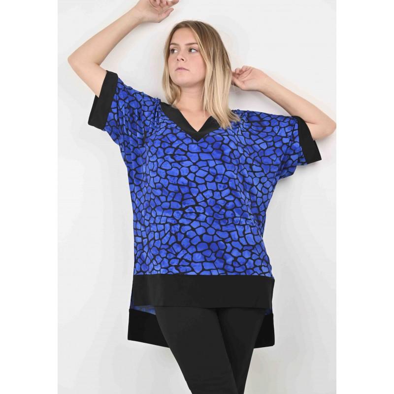 Tunique Nina en jersey imprimé bleu